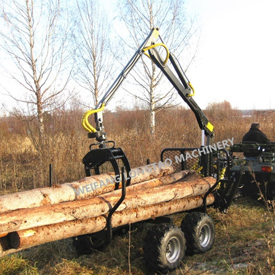 Tractor Towable Log Trailer with Crane with CE approved