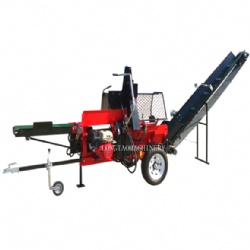 15Ton CE Gasoline Engine Firewood Processor Log Splitter Wood Processor with Hydraulic Feeding